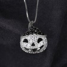 Black Spinel & Cubic Zirconia Pumpkin Pendant Necklace Solid Sterling Silver Fun