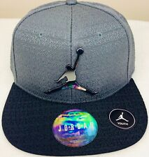 New Jordan Jumpman Adjustable Snapback Hat Gray Black Youth Size 8/20 9A1419-204