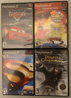 PS2 Movie Games lot (4) Cars Spongebob Superman Pirates of the Caribbean