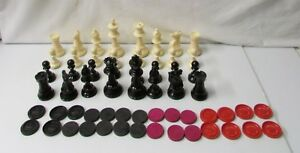 32 Chess Pieces and 28 Checker Pieces - Hard Plastic Pieces