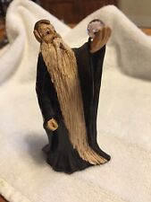 Miniature Painted Wooden Elf Wizard Holding Crystal Ball