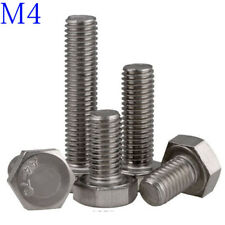 M4 x 0.7 4mm 316 A4 STAINLESS HEX HEAD TAP BOLTS SETSCREW FULL THREADED DIN933