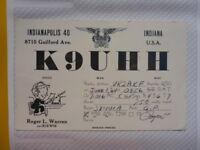 OLD VINTAGE QSL HAM RADIO CARD. INDIANAPOLIS, INDIANA. 1964
