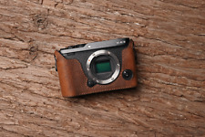 Genuine Real Leather Half Camera Case Bag Cover for FUJIFILM XE3 X-E3 Brown