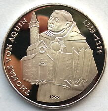 Laos 1999 Thomas Aquinas 5000 Kip Silver Coin,Proof