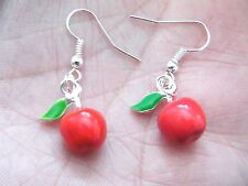 RED APPLE EARRINGS Teachers Pet Gift! CANDY APPLES Charm Silver Ear Wires NEW!