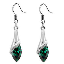 Emerald Green Angel Eye Tear Drop Dangle Earrings E870