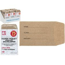 75 x Small Brown Paper Money Wallet Envelopes School Lunch Money Wage 7x10cm