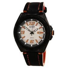 New Citizen AW1385-03H Black Leather Orange Accent Men's Watch