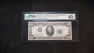 1963 A Twenty Dollar FR# 2066-J PMG GEM UNC 65 EPQ KANSAS CITY Note $20 Bill!