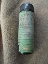 VINTAGE ANTIQUE Laxitive Herb table green bottle w/ cap & paper label