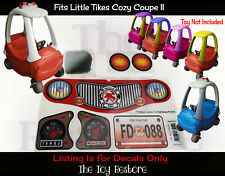 Replacement Decals Stickers fits Little Tikes Custom Cozy Coupe II Firetruck set