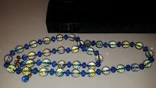 QVC Rare JOAN RIVERS Long Beaded Necklace Faceted Peacock Green Blue Lavender