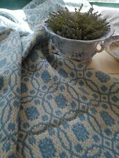 Antique Wool and Cotton Blue and White Woven Coverlet