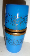 Opaline glass Box , Blue w/ decoration , lighter inside
