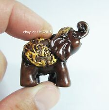 MINI THAI ELEPHANT Red-Brown Resin for Lucky Wealth Feng Shui Gift & Decor