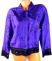 Purple black floral embroidered women's plus size button down vintage top 2X