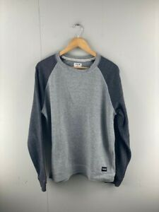 Hurley Mens Grey Comfortable Long Sleeve Crew Neck Pullover Jumper Size Small