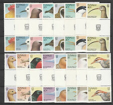 Tuvalu 3693 - 1988 BIRDS complete set of 16 GUTTER PAIRS unmounted mint