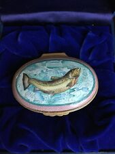 Halcyon Days Enamels box Rare Trout with Fly fishing lures handpainted