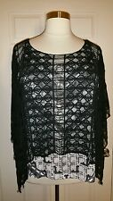 PRETTY ONE WORLD WOMEN'S PLUS SIZE FRINGED LACE PONCHO OVERLAY TOP & TANK Sz 1X