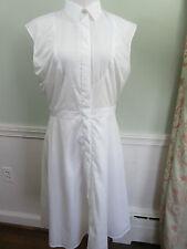 J Crew Cap-Sleeve Dress Shirtdress with Tuxedo Bib in White NWT Size 8T  #C4515