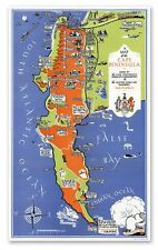 "Cape Peninsula, South Africa MAP circa 1935 - 24"" x 42"" Cape Point Poster Print"