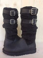 UGG CASSIDEE TALL BLACK LEATHER AND KNIT BUCKLE BOOT WOMENS US 7 NEW