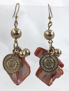 Pink Dyed Shell Cluster Gold Tone Dangle Earrings Mandala