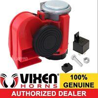 Vixen Horns Loud Powerful Dual-Tone Compact Electric Air Horn for Motorcycles//Cars//Boats//ATV Carbon Fiber Silver 12V VXH1608CS