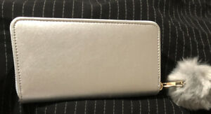 Silver Zip Around Wallet w/ Pom Pom Charm