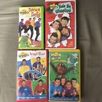 Lot OF 4 The Wiggles VHS videos DANCE PARTY WIGGLE TIME YUMMY YUMMY Christmas