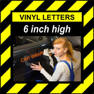 3 Characters 6 inch 152mm high pre-spaced stick on vinyl letters & numbers