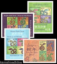 2013 Mnh 4 Ss, Year of Snakes Reptiles, Penrhyn, Cook Islands, Samoa, Niuafou-A1