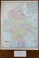 """Vintage 1900 GREECE Map 11""""x14"""" ~ Old Antique Original ATHENS HERAKLION VOLOS"""
