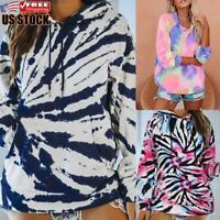 Womens Tie Dye Hooded Sweatshirt Pullover Ladies Loose Pocket Hoodie Tops Blouse