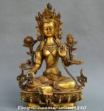 China Tibet Buddhism old bronze Gilt Green Tara Tibetan Buddha Guanyin Statue