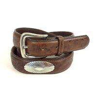 Mens Conchos Belt Size 40 Brown Tooled Leather Unbranded Western Southwestern