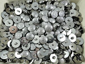 100 X 18MM SILVER COAT OF ARMS BADGE CREST SHANK COAT JACKET SEWING BUTTONS
