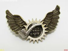 steampunk badge brooch pin smoking pipe gent chap hop owl wings Harry Potter