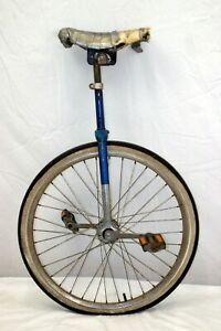 """Vintage Unicycle 20"""" 25"""" Stand Old School Retro Circus Stunt Blue Steel Charity!"""