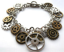 Beautiful handmade by me unique steampunk charm bracelet with gift bag