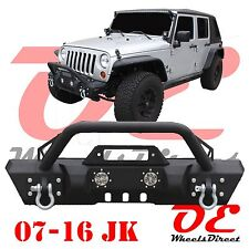 07-16 Jeep Wrangler JK Front Bumper + Bull Bar + Lights KO Off Road Stubby 11