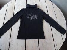 T-shirt manches longues noir motif baleine argenté à paillettes OKAÏDI T 5 ans