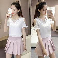 Vogue Women Loose Chiffon Lace Cut Out Summer Short Sleeve T Shirt Blouse Top XL