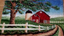 "Barn Scene Finished 30"" x 49"" Latchook Rug Wall Decor Country Farm Decor"