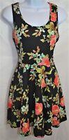 Banana Lemon Dress Style Number BD10921 Size Medium Made in USA Black Floral Fit