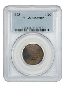 1833 1/2c PCGS MS65 BN - Lovely Mint State Large Cent