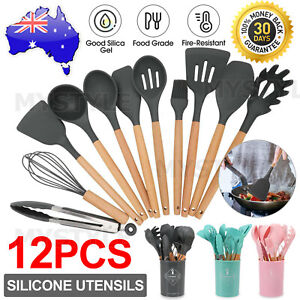 Set of 12 Silicone Utensils Set Wooden Cooking Kitchen Baking Cookware BPA