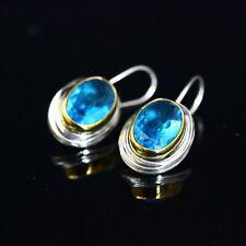 925 Sterling Silver Handmade Turkish  Aqua Marine Ladies Earring